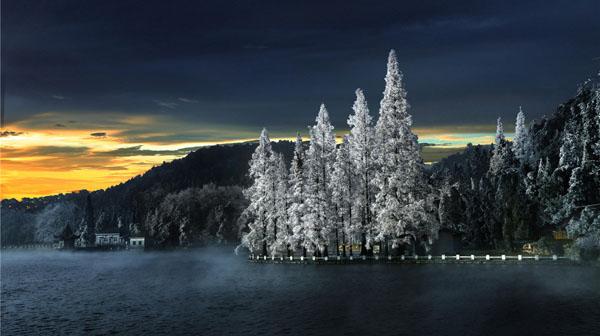 《芦林湖之冬》 彭学平 摄