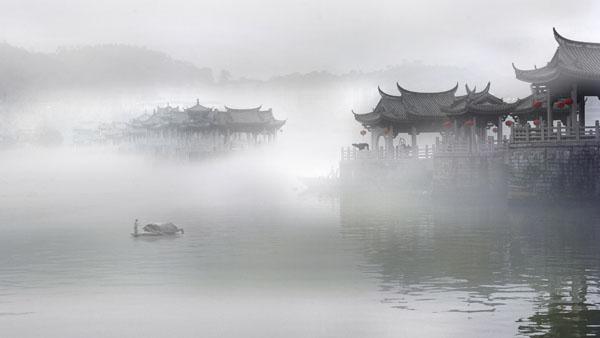 雾里看湘桥 黄庆明 摄